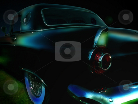 Classic car stock photo, Classic car parked in the moon light by R Deron