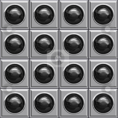 Black ball boxes stock photo, Seamless texture of glossy black balls in metallic boxes by Wino Evertz