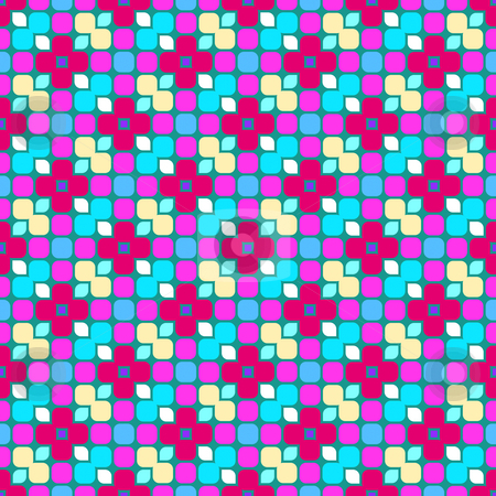 Bright festive pattern stock photo, Seamless texture of colorful blocks with abstracted flowers by Wino Evertz