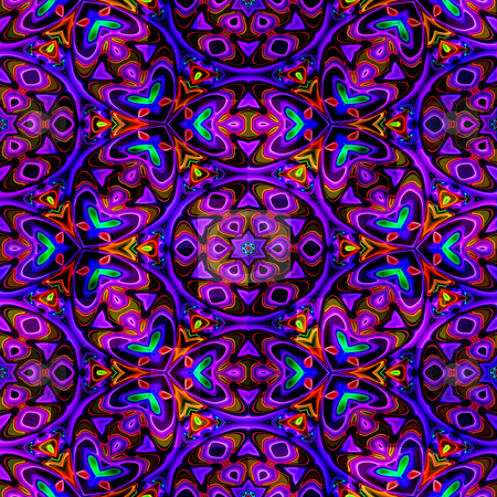Eastern ornamental pattern stock photo, Seamless texture of pink to blue abstract shapes by Wino Evertz