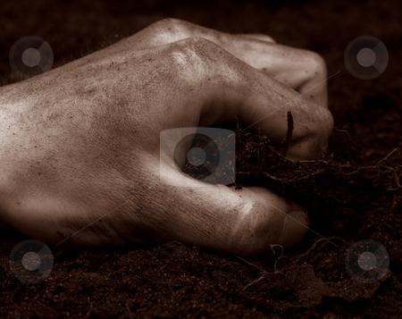 Hand grabbing Dirt stock photo, Hand grabbing at dirt antique colors by John Teeter
