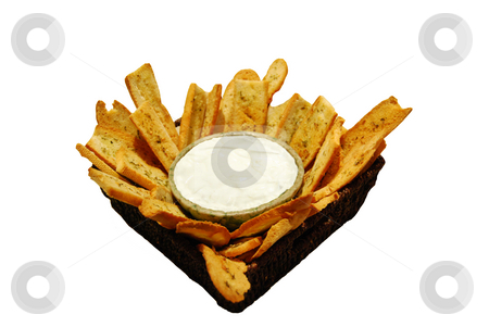 Food appetizer or snack, crostinis or toasts with dip stock photo, Toast fingers to go with your favorite dip by MARIANELLA CELIO
