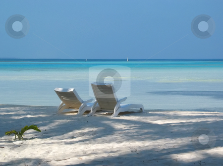 Two Sunloungers stock photo, Two sunloungers on a Maldivian beach by Helen Shorey