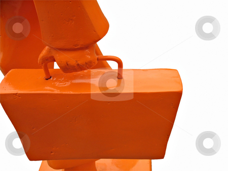 Orange Business Man stock photo, Isolated silhouette of a business man with his bag in rush hour by Roberto Marinello