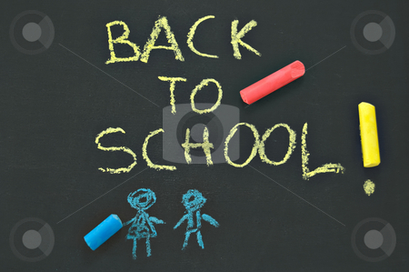 Back to school blackboard stock photo, Blackboard with the notice
