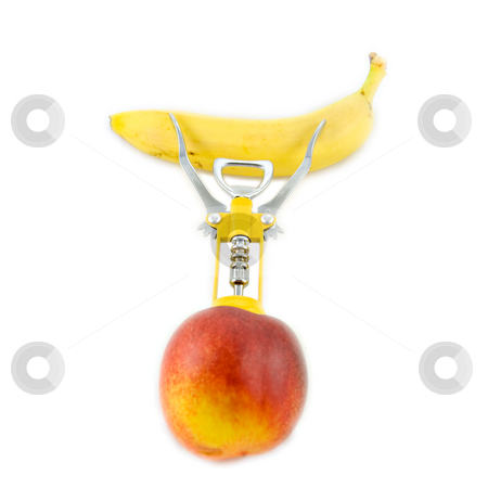 Corkscrew in a peach stock photo, Corkscrew in a peach seems to be a little man by Roberto Marinello