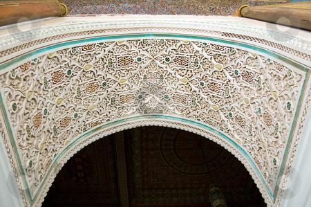 Bahia Palace Marrakesh vault stock photo, Stucco details of a vault door of Bahia Palace in Marrakesh by Roberto Marinello