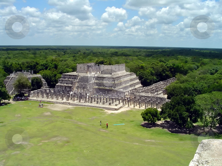 Chichen itza ruins stock photo, Ruins of the maya city chichen itza, view from el castillo by Roberto Marinello