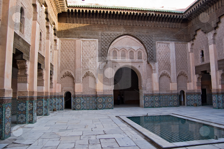Marrakesh Ben Youssef Medersa stock photo, The Ben Youssef Medersa, an Islamic school attached to the Ben Youssef Mosquein in Marrakesh by Roberto Marinello