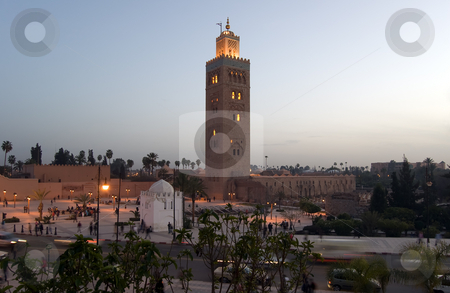 Marrakesh Koutoubia Minaret stock photo, The marvellous Koutoubia Minaret and the Mosque in the Marrakesh center, Moroc by Roberto Marinello