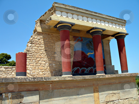 Knossos Bull Fresco  stock photo, The great palace of Knossos archaeological site, bull fresco at the Bastion A at the North Entrance by Roberto Marinello