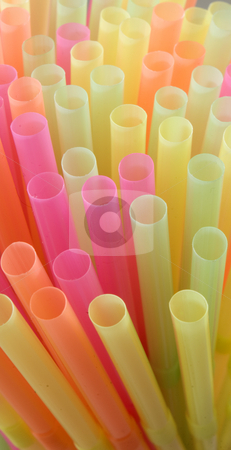 Drinking straws stock photo, Close in shot of tops of colorful straws by Jonathan Hull