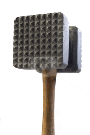 Meat mallet stock photo, Close up of a meat mallet on white by Jonathan Hull
