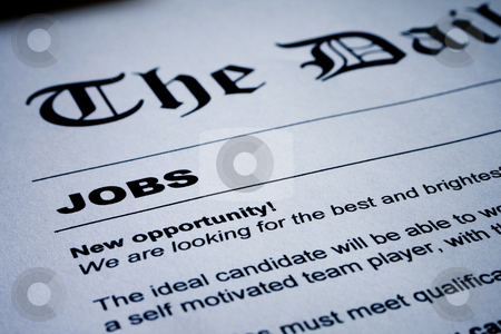 Jobs on Newspaper stock photo, Closeup of employment classified ads on newspaper by iodrakon