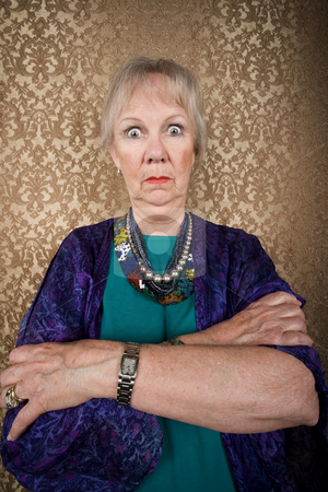 Eccentric Lady with Wild Eyes stock photo, Portrait of an Eccentric Senior Lady with Wild Eyes by Scott Griessel