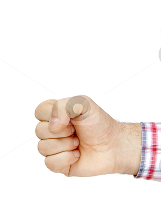 Fist isolated on white stock photo, Man hand fist isolated on white background by Julija Sapic