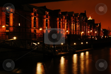 Hamburg Speicherstadt stock photo, Night view of the Speicherstadt in Hambureg, Germany by Diana Hartmann