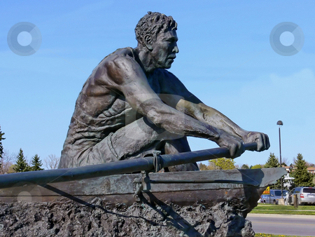 Rower statue    stock photo, A statue of a rower in the town of Port Dalhousie on lake Ontario. by Horst Petzold