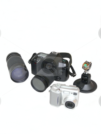 Photo gear   stock photo, A selection of photo gear from an hobby photographer. by Horst Petzold