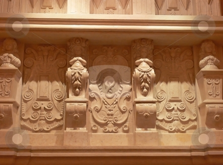 Marble carvings   stock photo, A beautiful marble carving under an balcony in an banquet hall. by Horst Petzold