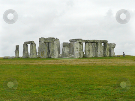 Stonehenge under a Grey Sky stock photo, Stonehenge under a grey sky in March, Salisbury Plain, UK by Helen Shorey