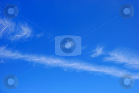 Blue Sky with White Clouds stock photo, Blue sky with two diagonal white cloud stripes. by Denis Radovanovic