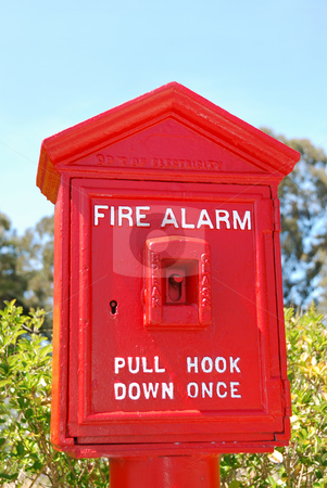 Fire Alarm Box stock photo, Fire alarm red box shown outside with green bushes and blue sky background. by Denis Radovanovic