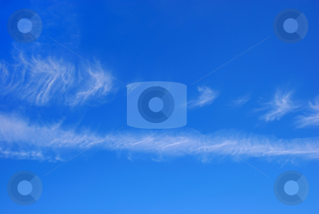 Blue Sky with White Clouds stock photo, Blue sky with two horizontal white cloud stripes. by Denis Radovanovic