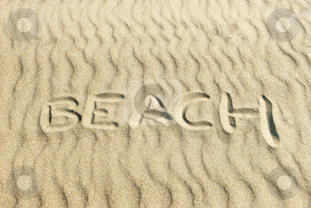 Beach Written in Sand stock photo, Word BEACH written in sand with sunlight coming from the right. by Denis Radovanovic