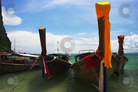Boats on a beach stock photo, Boats on a tropical beach. West Railay, Krabi Province, Thailand by Martin Darley