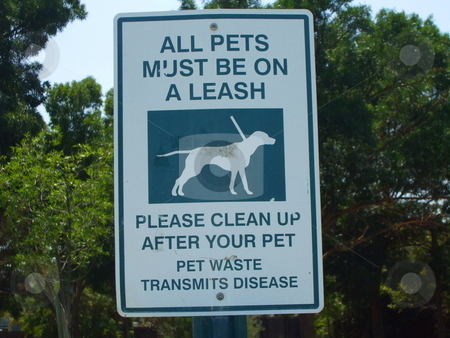All Pets Must Be On A Leash Sign stock photo,  by Michael Felix