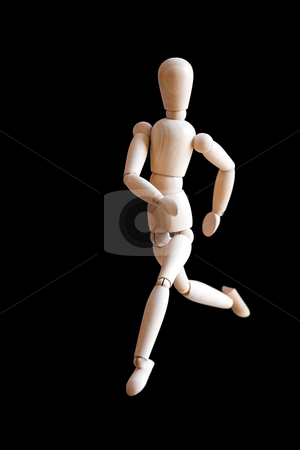 Generic Runner stock photo, A wooden figurine running isolated over a black colored background. by Todd Arena