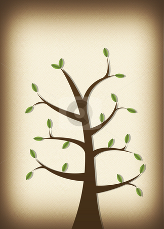 Tree on Parchment stock photo, Tree on parchment background with leaves illustration by John Teeter