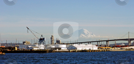 Seattle harbour and Mount Rainier stock photo, A view of Seattle harbor with Mount rainier in the background by Corepics VOF