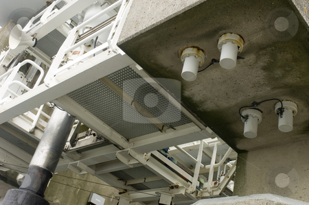 Flood barrier construction details stock photo, The construction details of the hydraulic module of the Oosterschelde storm flood barrier, the Netherlands by Corepics VOF