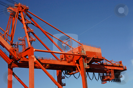 Crane 1 stock photo, Details of a huge container terminal crane by Corepics VOF