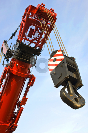 Hoisting rig stock photo, A close up of the hoisting rig and part of the telescopic arm of the worlds largest mobile crane by Corepics VOF