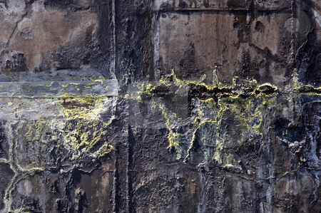 Oxidised waste water tank stock photo, The corroded grungy structures of an industrial waste water tank, showing the crystallinisation of the various minerals, such as the yellow sulphur - Also very useful as grunge background by Corepics VOF
