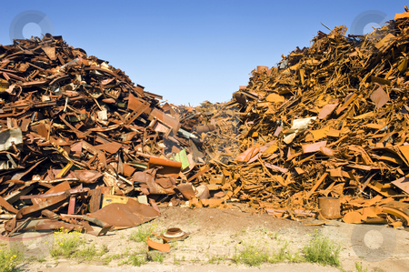 Steel Scrap Heap stock photo, A metal scrap heap, to be recycled into new steel by Corepics VOF
