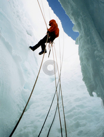 Rappel stock photo, A climber abseiling into a crevasse on Tasman Glacier by Stephen Kerin