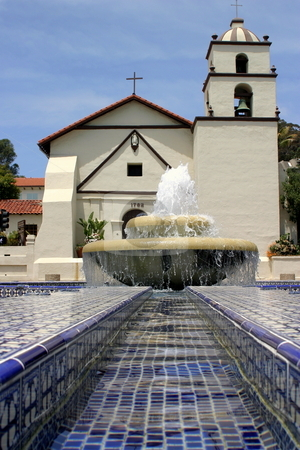Mission Water stock photo, Water Fountain in front of the San Buena Ventura mission. by Henrik Lehnerer
