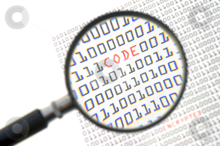 Binary Code stock photo, A magnifying glass, zooming in on the word code in red, surrounded by zeros and ones of the binary page text by Corepics VOF