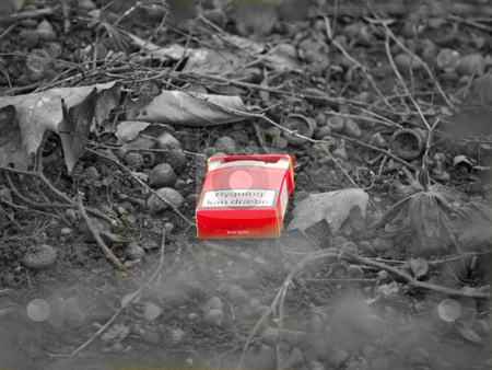 Environmental - Urban pollution , cigarette pack in black and wh stock photo, Environmental - Urban pollution , cigarette pack in the bush - black and white by Phillip Dyhr Hobbs