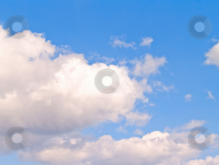 White clouds and blue sky with copy space stock photo, OLYMPUS DIGITAL CAMERA by Phillip Dyhr Hobbs