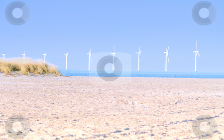 Landscape of a clean modern beach with wind generators stock photo, Landscape of a clean modern beach with wind  generators by Phillip Dyhr Hobbs