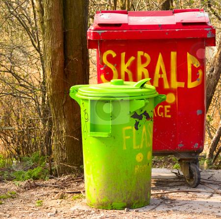Urban environment - plastic rubbish bins in a recycling centre stock photo, Urban environment - plastic rubbish bins in a recycling centre in Denmark by Phillip Dyhr Hobbs