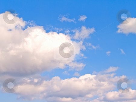 White clouds and blue sky with copy space stock photo, White clouds and blue sky with copyspace by Phillip Dyhr Hobbs