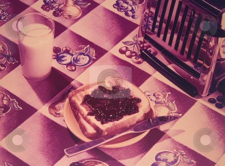 Old fashioned toast stock photo, Washed out old fashioned taoster with toast and milk by Jonathan Hull