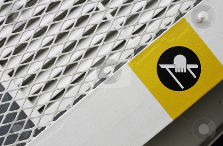 Hand Rail Warning stock photo, A warning sign tellin gto use the handrail on the ferry between Vancouver Island and Vancouver. by Corepics VOF