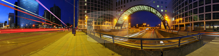 Motorway junction stock photo, A 360 degrees panoramic image of a roundabout on top of a motorway. A big downtown junction by Corepics VOF